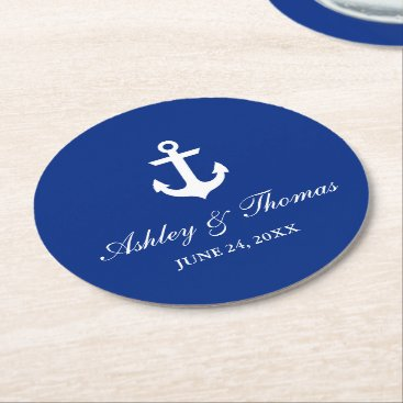 Nautical Wedding Anchor Blue Round Paper Coaster