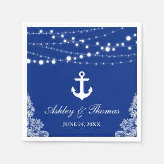 Nautical Wedding Anchor Lights & Lace Blue Napkin