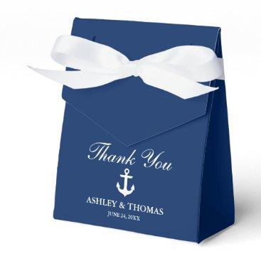 Nautical Wedding Anchor Navy Blue Thank You Bow Favor Box