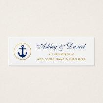 Nautical Wedding Blue Gold Registry Insert Card