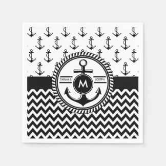 Nautical Wedding Bride and Groom Names Monogram Paper Napkins