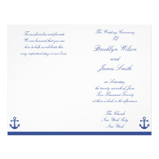Nautical Wedding Ceremony Program Flyer Flyer