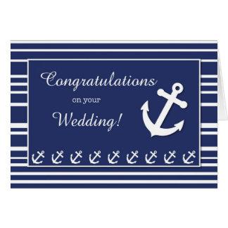 Nautical Wedding Congratulations, Stripes, Anchors Card