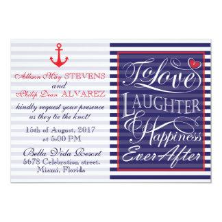 Nautical wedding design invitation