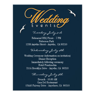 Nautical Wedding Event & Accommodation Inserts Flyer