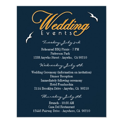 Nautical Wedding Event & Accommodation Inserts Full Color Flyer