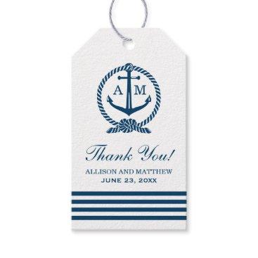 Plush_Paper Nautical Wedding Favor Tags | Anchor Monogram