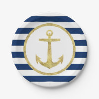 Nautical Wedding Gold Anchor Royal Blue Stripes Paper Plate
