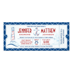 Nautical Wedding Invitation Ticket 4