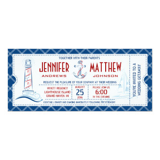 Nautical Wedding Invitation Ticket
