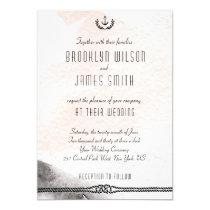 Nautical Wedding Invitations Watercolor Peach