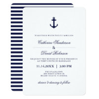 Nautical Wedding Invitations with Navy Stripes