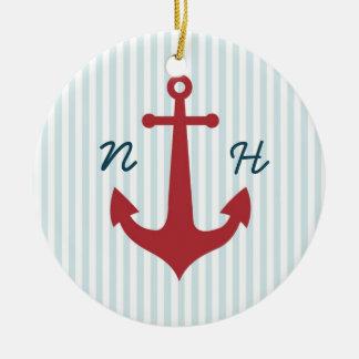Nautical wedding keepsake ornament