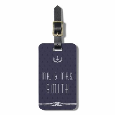 Nautical Wedding Luggage Tags Blue Anchors