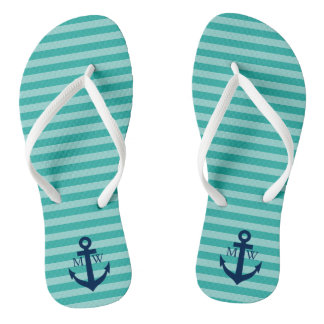 Nautical wedding monogram striped beach flip flops