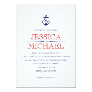 "Nautical Wedding Navy Blue Nautical Red Stripes 5"" X 7"" Invitation Card"