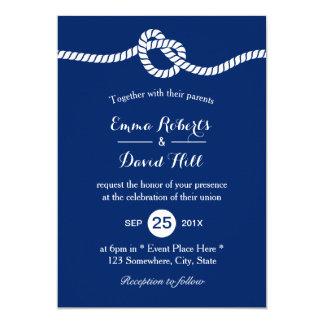 Nautical Wedding Navy Blue Tying the Knot Elegant Card