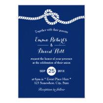 Nautical Wedding Navy Blue Tying the Knot Elegant Invitation