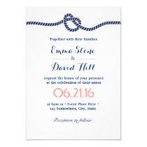 Nautical Wedding Navy Blue Tying the Knot Invitation