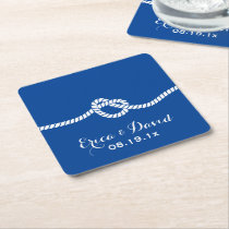 Nautical Wedding Navy Blue Tying the Knot Square Paper Coaster