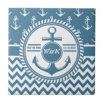 Nautical Wedding or Anniversary Anchor Chevron Ceramic Tile