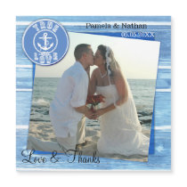 Nautical Wedding Photo Thank You Magnetic Card