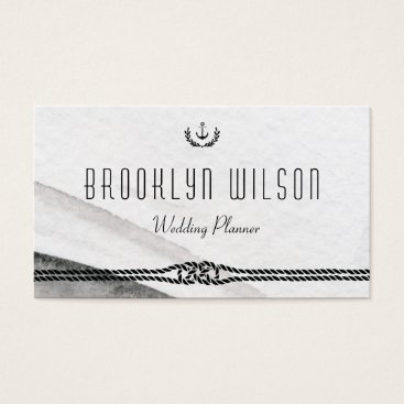 Professional Business Nautical Wedding Planner Business Cards Gray White