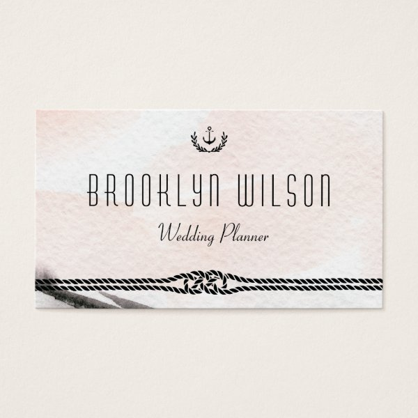 Nautical Wedding Planner Business Cards Watercolor