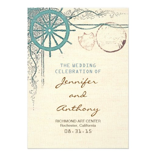 Nautical wedding program personalized invites