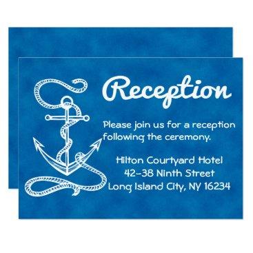 Beach Themed Nautical Wedding Reception Anchor Blue Watercolor Card