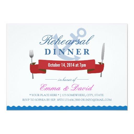 Nautical Wedding Rehearsal Dinner Invitations | Zazzle