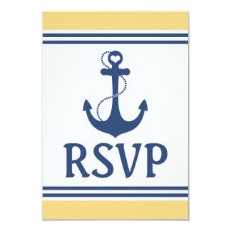 "Nautical Wedding RSVP 3.5"" X 5"" Invitation Card"