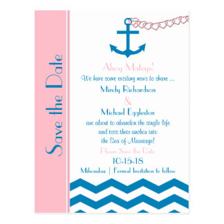 Nautical Wedding Save the Date Postcard