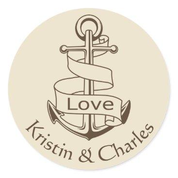 Beach Themed Nautical Wedding Ship Anchor Tan  Brown Love Classic Round Sticker