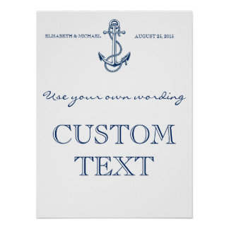 Nautical Wedding sign | Custom text | template Poster