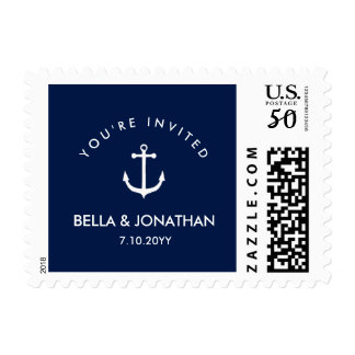 Nautical Wedding Simple Classic Anchor Postage