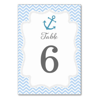 Nautical Wedding Table Number Card