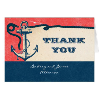 Nautical Wedding Thank You Cards With Anchor