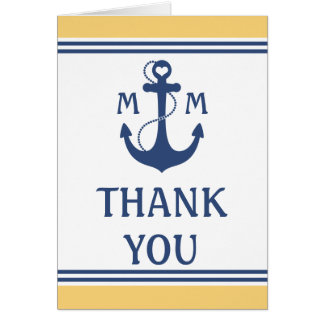 Nautical Wedding Thank You Greeting Card