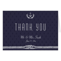 Nautical Wedding Thank You Note Card Blue Anchors
