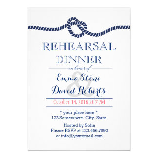 Nautical Wedding Tying The Knot Rehearsal Dinner Card
