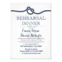 Nautical Wedding Tying the Knot Rehearsal Dinner Invitation