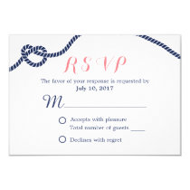 Nautical Wedding Tying the Knot RSVP Card