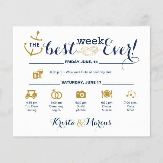 Nautical Wedding Week Itinerary