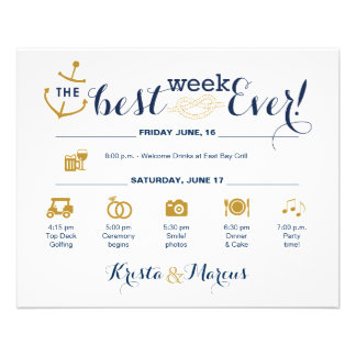 Nautical Wedding Week Itinerary Flyer