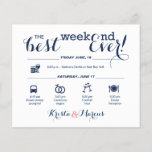 """Nautical Wedding Weekend Itinerary<br><div class=""""desc"""">Wedding Program Flyer featuring &quot;Infographic&quot; style timeline. Contact Seller before personalization for timeline icon adjustments or additions.</div>"""