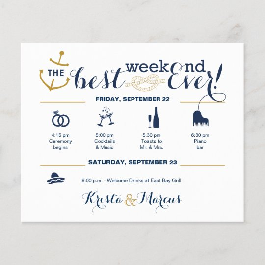 Nautical Wedding Weekend Itinerary 2