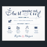 """Nautical Wedding Weekend Itinerary 2 Flyer<br><div class=""""desc"""">Wedding Program Flyer featuring Nautical &quot;Infographic&quot; style timeline. Contact Seller before personalization for timeline icon adjustments or additions.</div>"""