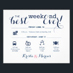 """Nautical Wedding Weekend Itinerary Flyer<br><div class=""""desc"""">Wedding Program Flyer featuring &quot;Infographic&quot; style timeline. Contact Seller before personalization for timeline icon adjustments or additions.</div>"""