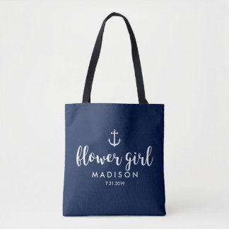 Nautical Wedding White Anchor Custom Flower Girl Tote Bag
